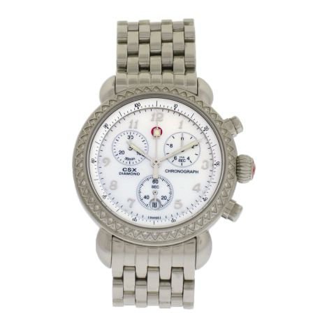 Women's S/S Michele CSX 36 Diamond Chronograph watch. Details: http://www.palisadejewelers.com/portfolio/csx-36-diamond-chrono/