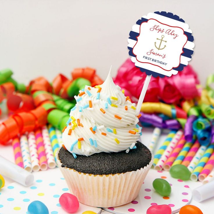 Nautical Cupcake Topper | Personalised Nautical Party Cake Topper for a Nautical Birthday Theme. | CLICK here to see details and for more matching nautical party printables from Print & Party.