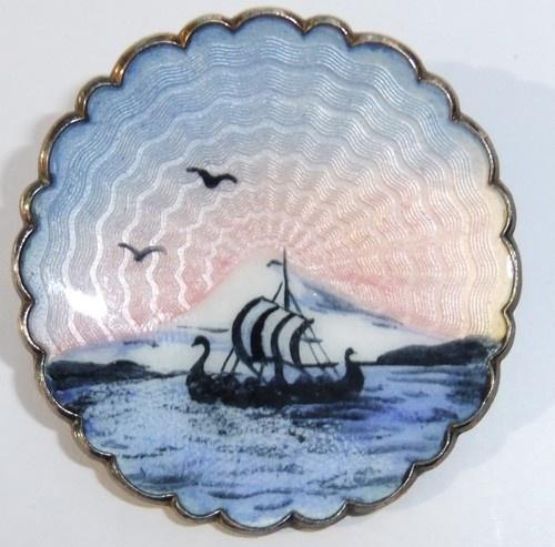 IVAR T HOLTH NORWAY STERLING SILVER GUILLOCHE ENAMEL SUNRISE SHIP BROOCH
