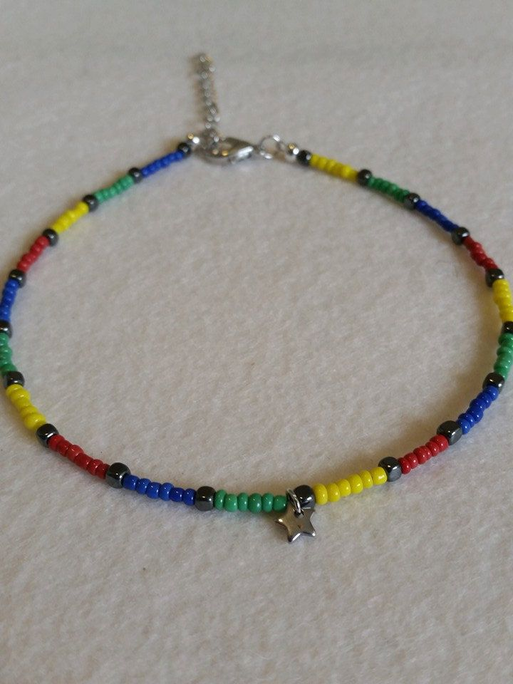 Colourful glass seed bead anklet with charm