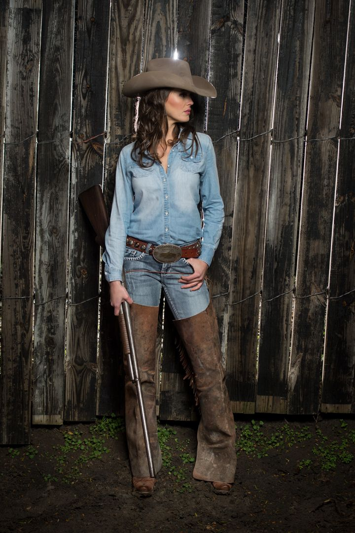 "The ""Cash"" in Pecan...  Another classic denim on denim.  We let the cowboy hat speak for itself."