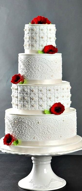 Poppies and Lace Wedding Cake