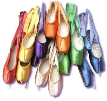 Pointe shoes in a variety of colours - I wish I owned all of these! I only had the chance to dance and own regular light pink ones. Sigh!