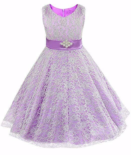 f9c737a30 iEFiEL Kids Big Girls V-Neck Lace Flower Dress Graduation Pageant ...