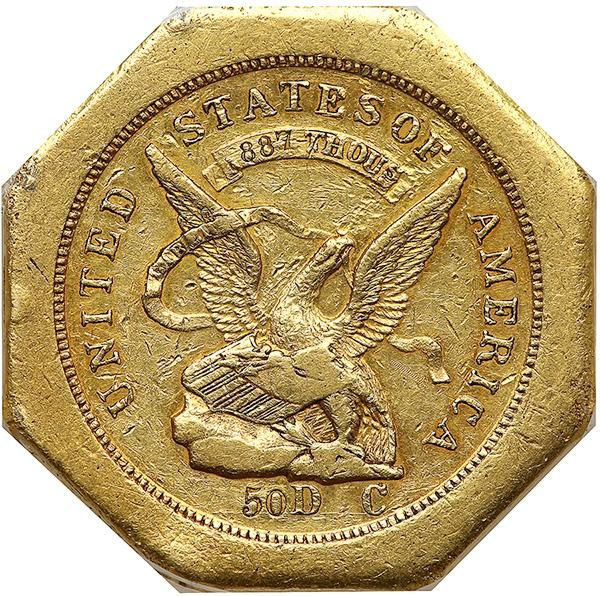 "1851 Humbert $50 ""Slug"", 887 THOUS. Lettered Edge, 50 on Reverse. K-4, Rarity 5. The $50 octagonal ""slug,"" was a golden bastion of California commerce during the first years of statehood. Such pieces were used in large transactions, being the coin of choice, since the local residents were repulsed by paper money (paper money was made illegal in the state under the Constitution of 1850.) The octagonal $50 slugs were last made in 1852, after which the Assay Office closed; but the slugs, themselves, continued in use for many years thereafter. Often, they found their way to the various federal mints, where they were melted into bullion, then refashioned into federal denominations. When the Gold Rush began, California was a particularly lawless place. On the day when gold was discovered in 1848 at Sutter's Mill, California was still technically part of Mexico, under American military occupation as the result of the Mexican-American War. With the signing of the treaty ending the war on February 2, 1848, California became a possession of the United States, but it was not a formal ""territory"" and did not become a state until September 9, 1850. Generally speaking, all varieties of the U.S. Assay Office fifty dollar octagonal coins are very scarce, however, the Reeded Edge varieties are somewhat more obtainable than their earlier Lettered Edge counterparts. This example, featuring .887 fineness on the ribbon above the eagle, also has lettering around the edges: AUGUSTUS / HUMBERT / UNITED / STATES / ASSAYER / OF GOLD, / CALIFORNIA / 1851. The denomination is seen, both on obverse and reverse, on the latter side as a simple 50 at the center. The surfaces present some deep orange-gold color at the borders, indicative of the copper inherent in the 887-fine gold alloy. While the coin exhibits several corner bumps and rim abrasions, traces of original luster can still be discerned, making for an especially pleasing piece. . Estimated Value $120,000-UP. #Coins #Gold #USOther #MADonC"