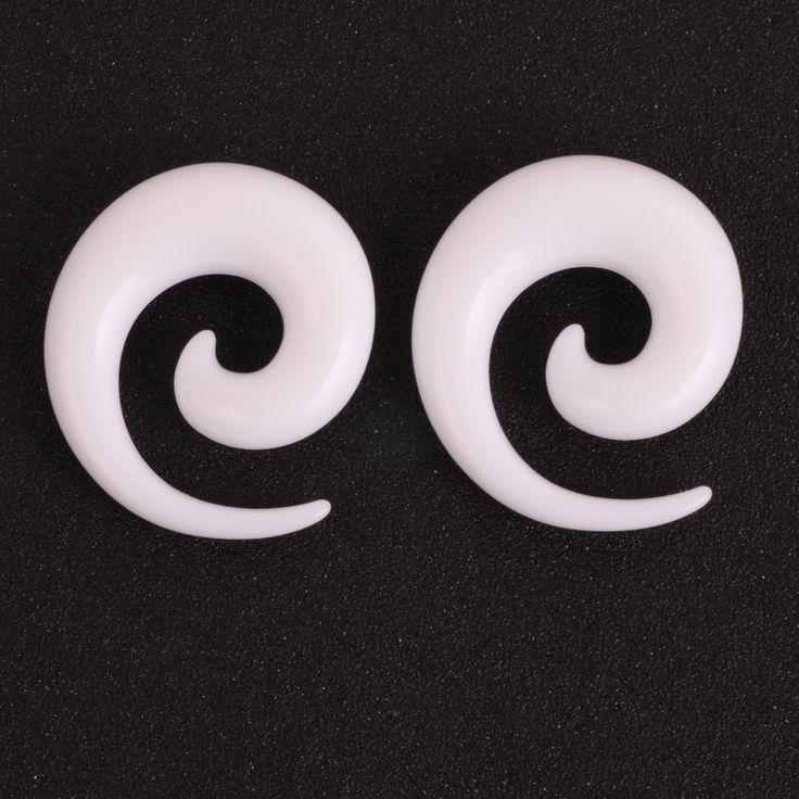 Wit Acryl Spiraal Oor Meters Oor Tapers Stretchen Pluggen En Tunnel Expanders Piercing Piercing Sieraden (1.6-12mm)