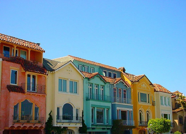 Beautiful colorful homes in the Marina District of San Francisco, California