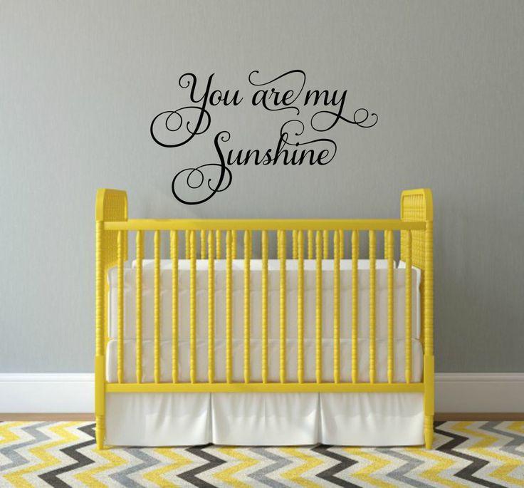 You Are My Sunshine Decal Sunshine Wall Decal Nursery Decal Nursery Wall  Quote Sunshine Vinyl Decal