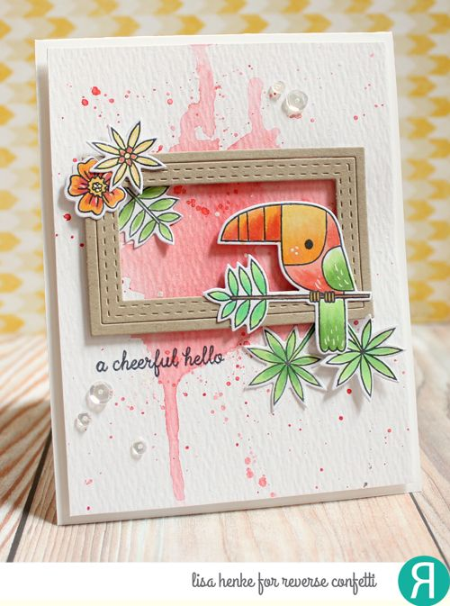 Card by Lisa Henke. Reverse Confetti stamp set: Toucan of Friendship. Confetti Cuts: Toucan of Friendship and All Framed Up. Friendship card. Birthday card.