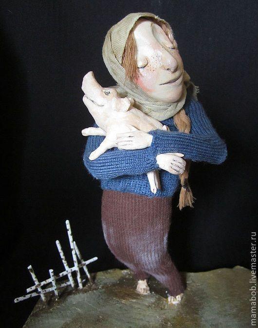 Купить Дашка - кукла, поросенок, село, паперклей, Паперклей, текстиль