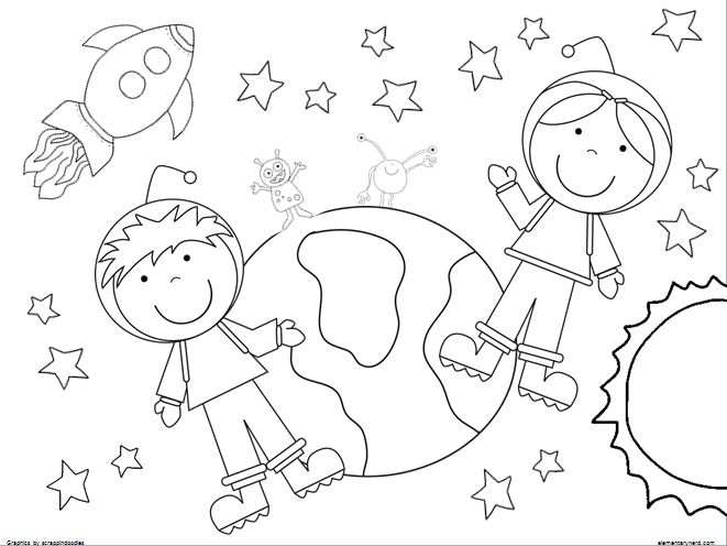 2 Coloring Pages Boy And Girl Astronaut Outer Space