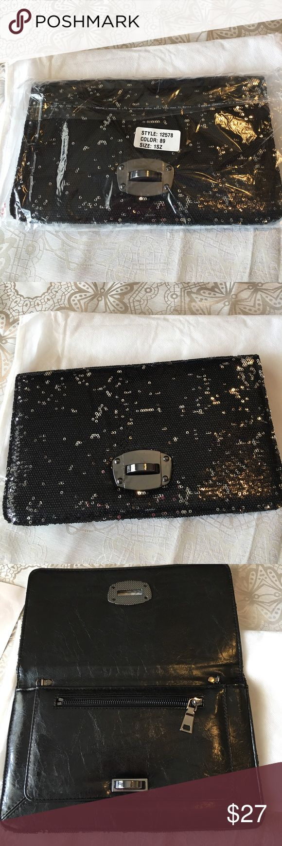 """Frederick's of Hollywood new black sequin clutch This is a brand new black sequined clutch from Frederick's of Hollywood measuring 11.5"""" in length by 7"""" in height.  Never used in original packaging. Frederick's of Hollywood Bags Clutches & Wristlets"""