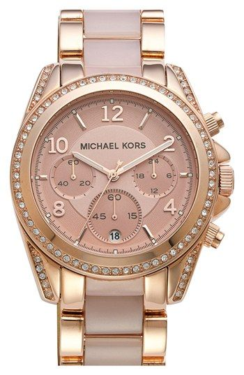 Michael Kors 'Blair' Crystal Bezel Two-Tone Bracelet Watch, 39mm available at #Nordstrom