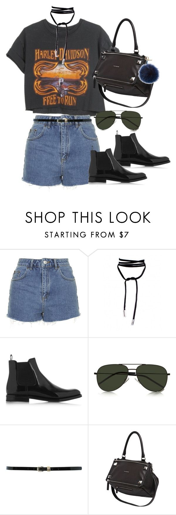 """Sem título #1211"" by oh-its-anna ❤ liked on Polyvore featuring Harley-Davidson, Topshop, Church's, Yves Saint Laurent, M&Co, Givenchy and Fendi"