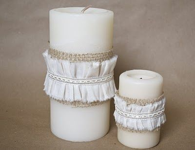 Spruce up pillar candles with a little burlap and ruffled fabric. for my dining room table.