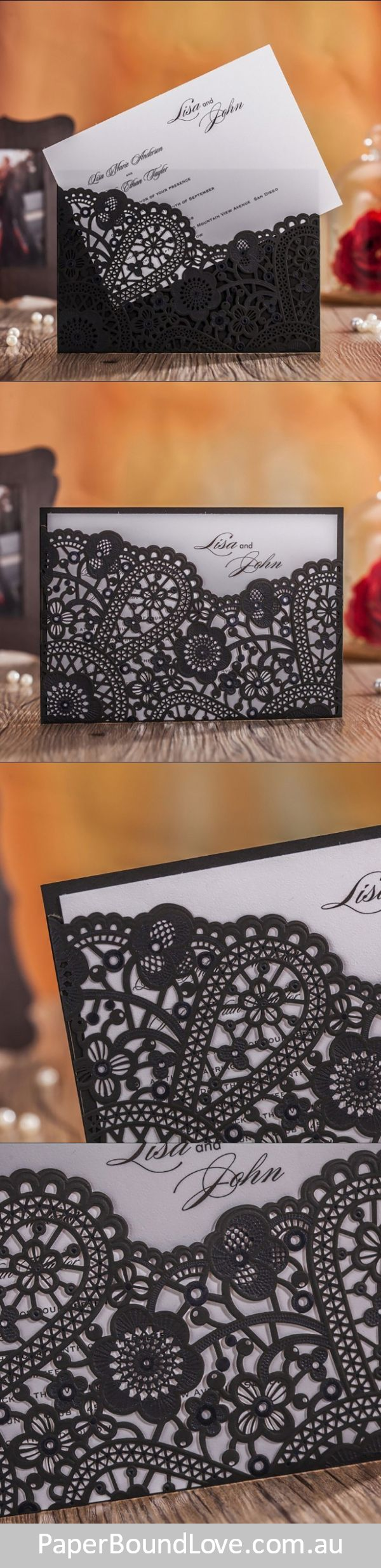 Timeless | Black wedding invitations by Paper Bound Love