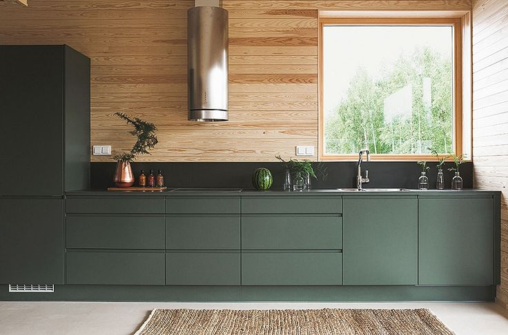 I like the green cabinets, maybe white on top.