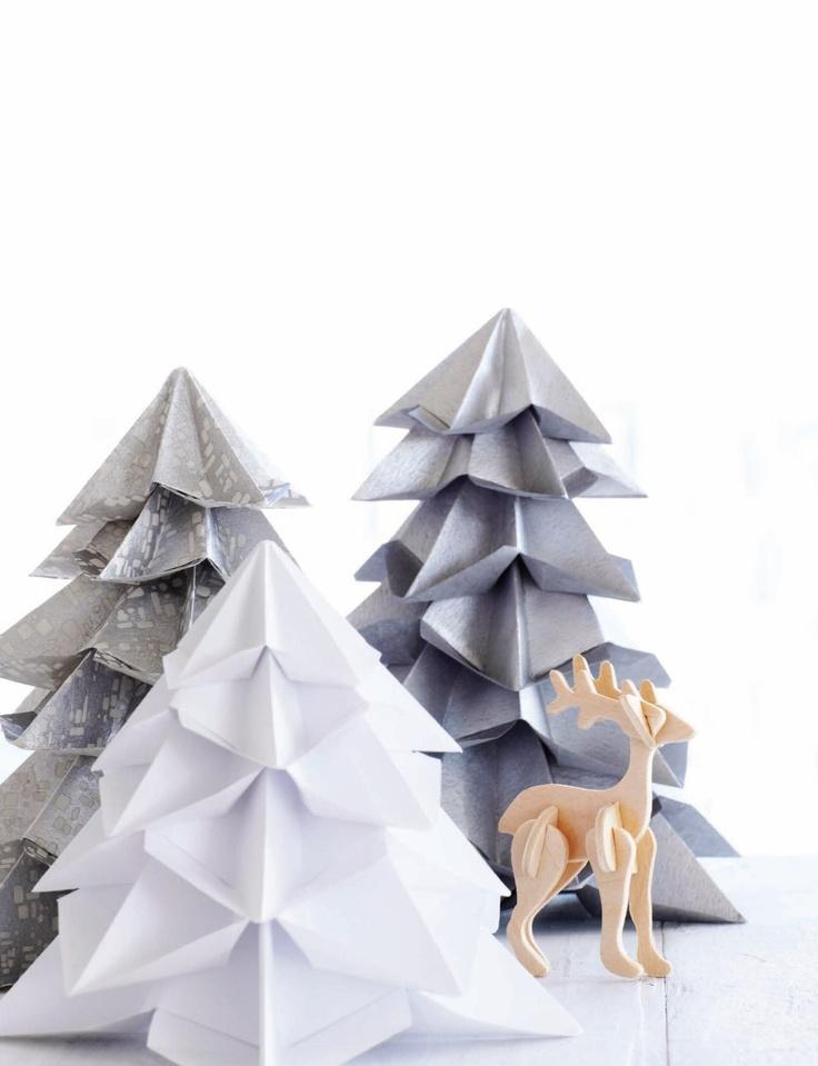 Wunderschöne DIY-Idee: Papierbäumchen in Grau und Weiß