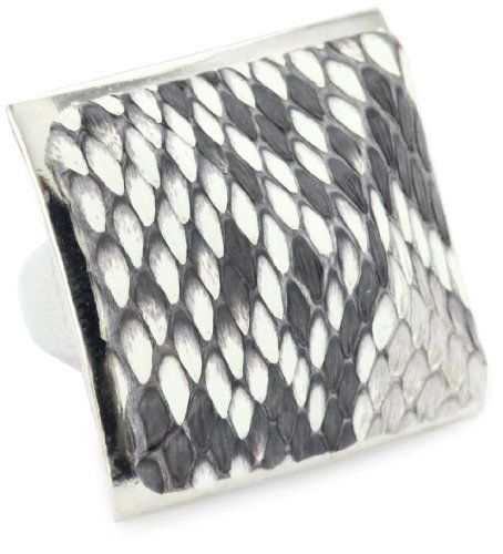 """TED ROSSI """"Classic"""" Python Pyramid Adjustable Ring Ted Rossi. $50.99. Genuine python skin pyramid sits atop a custom-designed metal base. Made in USA. Ring is adjustable and will fit sizes 5-8. Ted Rossi tag on interior of ring. Save 43%!"""