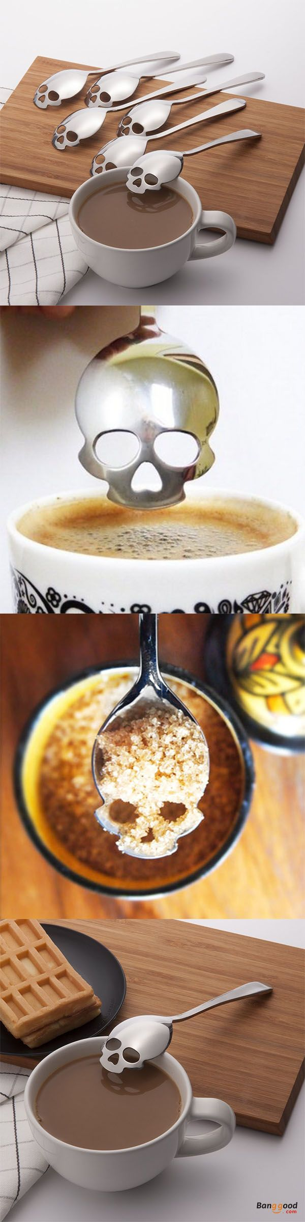 US$3.99 + Free shipping. KCASA KC-FS05 Skull Shape Stainless Steel Tea Coffee Sugar Stirring Spoon Scoop Teaspoon Tableware. Add some fun to our life! >>> To view further, visit now.