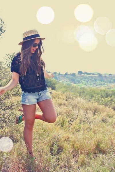 Black Lace Top + Denim Shorts + Colorblock Heels + Key Necklace