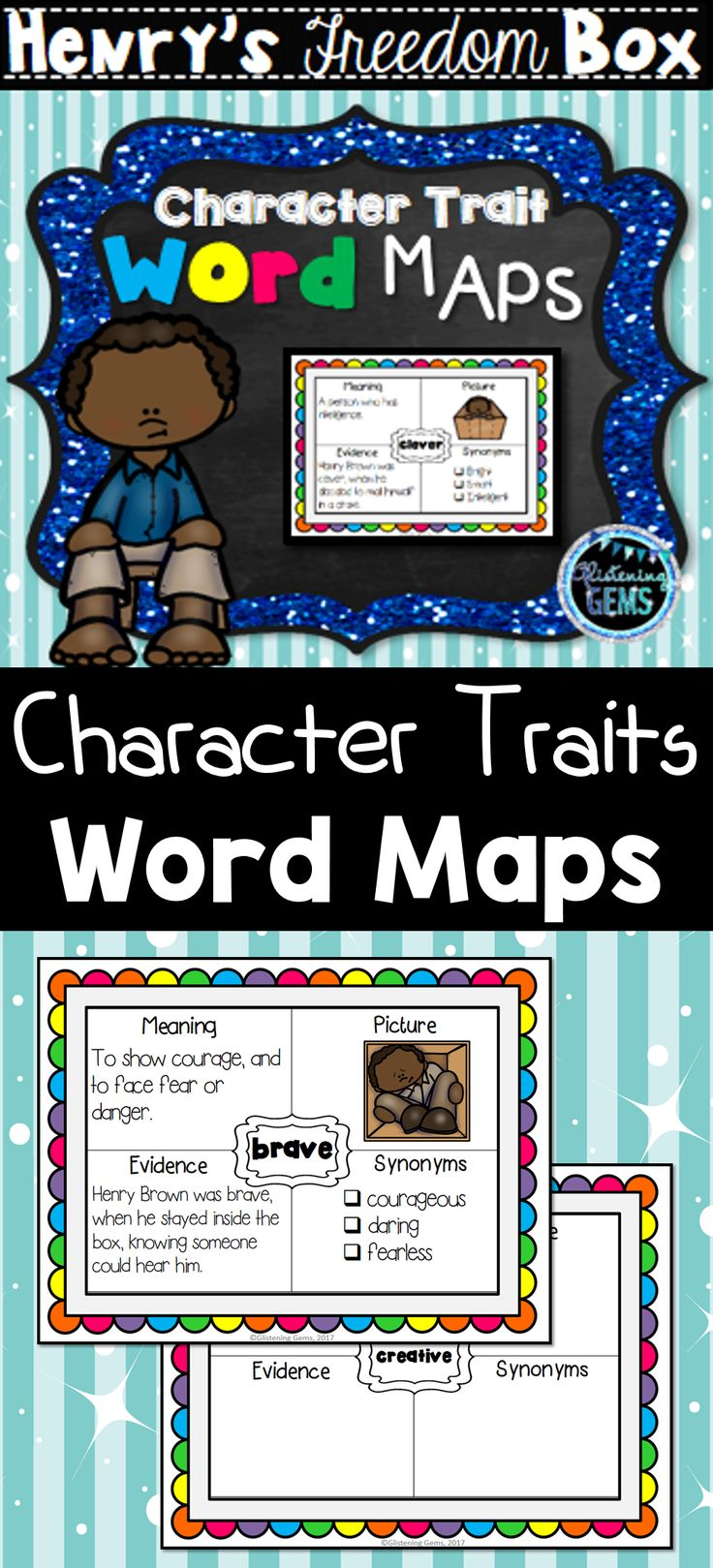 Henry's Freedom Box - Character Trait Word Maps/Graphic Organizers. Examples included.