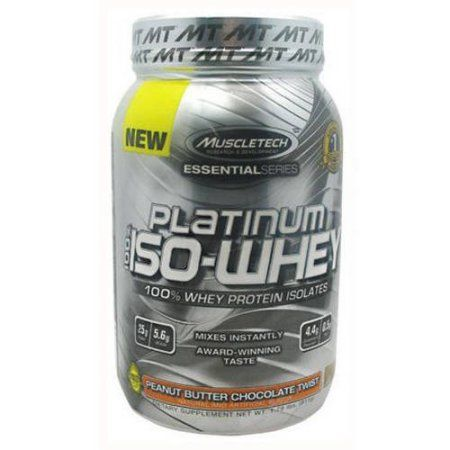 MuscleTech 100% Platinum Iso-Whey, Peanut Butter Chocolate Twist, 1.79 LB