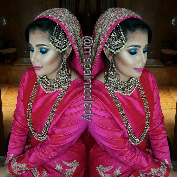 #desi bridal makeup and hair. Dallas Indian Bride by Ms Painted Lady. hot pink dupatta