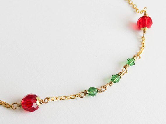Red Christmas choker. I Love Christmas! #Christmas #jewelry #chokers #handmade #crafts #handcrafted #necklace #choker