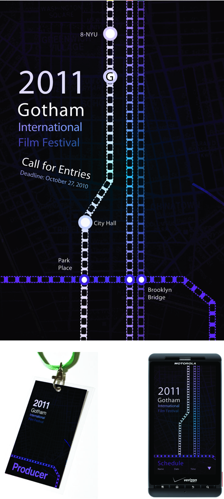 Festival project with Poster, ID Tag and Mobile App