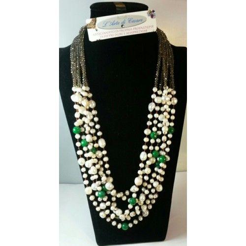 collana perla e agata verde