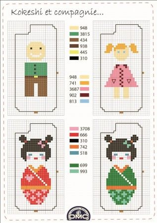 Pays - country - kokeshi - point de croix - cross stitch - Blog : http://broderiemimie44.canalblog.com/