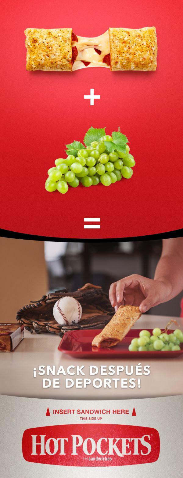 Hot Pockets más uvas, un snack perfecto para después de los deportes. Esta combinación de una buena fuente de proteína y sabor resulta en un snack que los dejará satisfechos.#HotPockets
