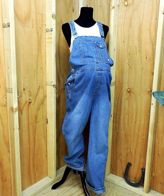 1d3eaa3fe2e3f Maternity bib overalls / size L / 90s Old Navy denim Overalls / medium wash maternity  jean overalls