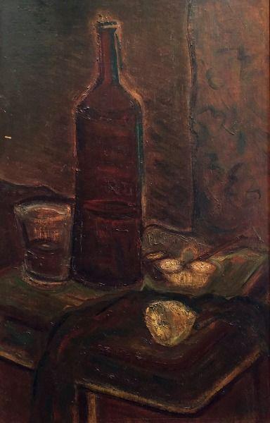 Miloš Alexander Bazovský – Zátišie s fľašou, olej na kartóne, 52x2,5 cm