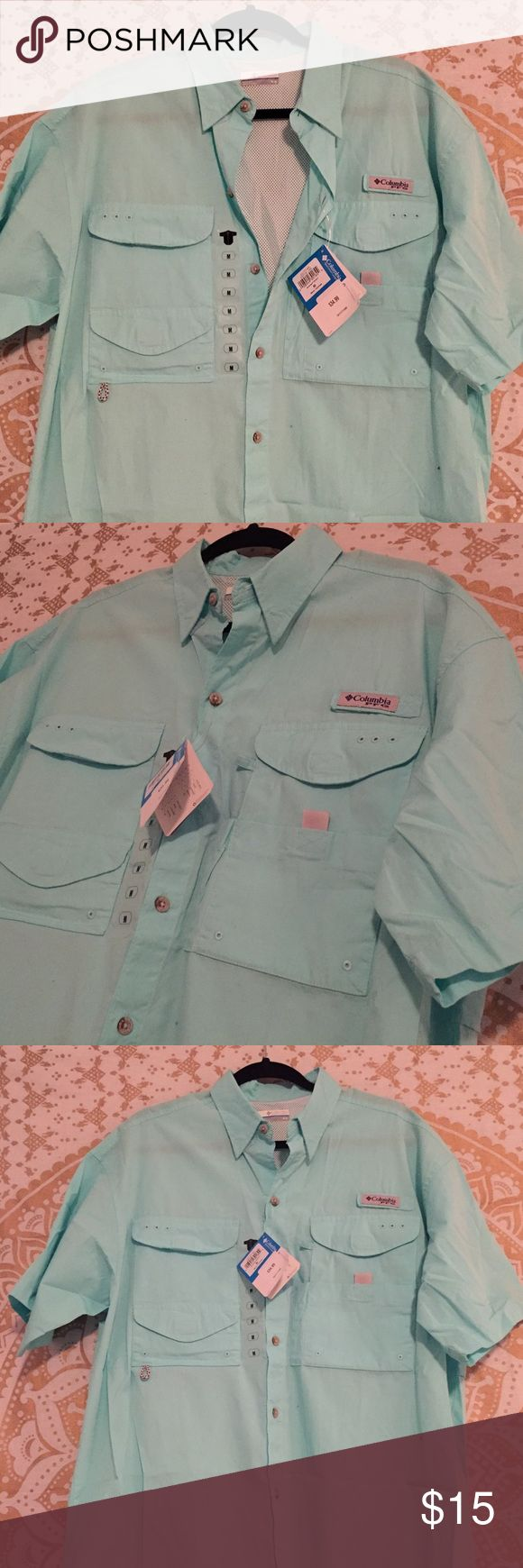 Columbia Fishing Shirt Light blue Columbia fishing shirt. Brand new, just too big for hubby. They do run big, so be cautious! Great for the upcoming season!☀️🐟 Columbia Shirts Casual Button Down Shirts