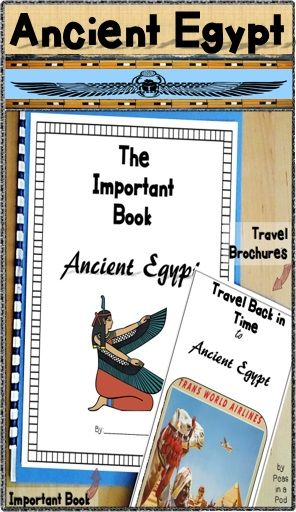 "Ancient Egypt activites: A Travel Brochure & ""Important Book"" template. Perfect for any 6th grade teacher looking to make social studies a bit more hands on and creative!Ancient Egypt Travel BrochureCopy the travel brochure back-to-back on legal size paper (8.5 x 14)."