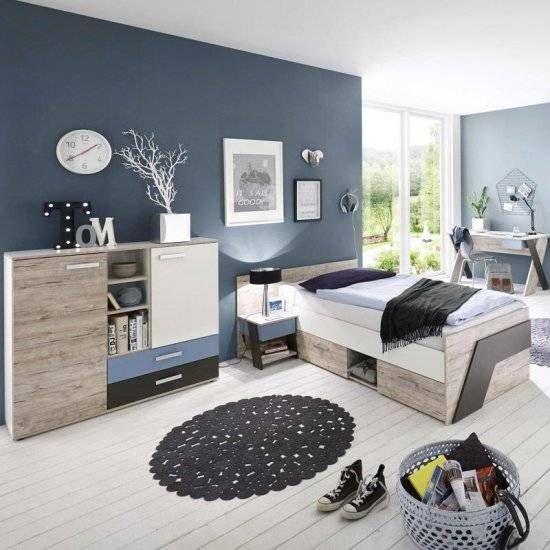 Jugendzimmer Komplett Jungen mit Schreibtisch 4-teilig LEEDS-10 in Sandeiche Nb. mit weiß, Lava und Denim Blau