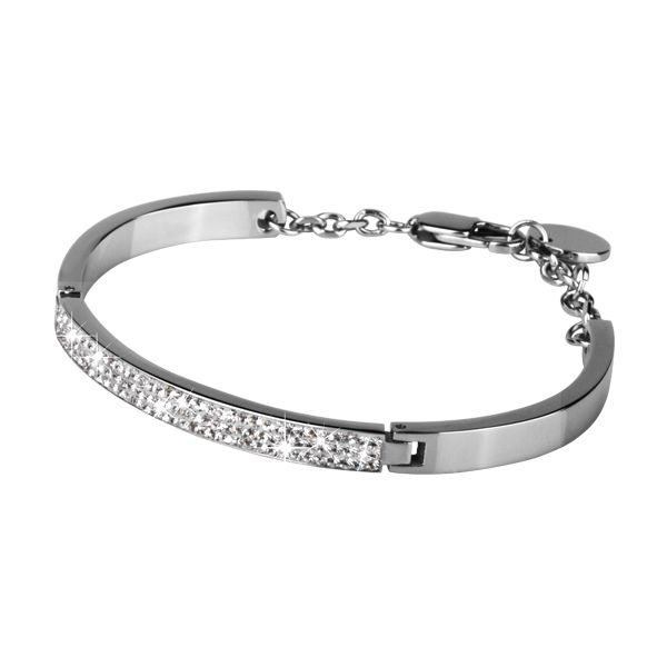 Polished Stainless Steel Bangle Bracelet with 3 rows of white crystals in front panel http://lily316.com.au/shop/bracelets-ladies-stainless-steel/polished-stainless-steel-and-white-crystal-bracelet/