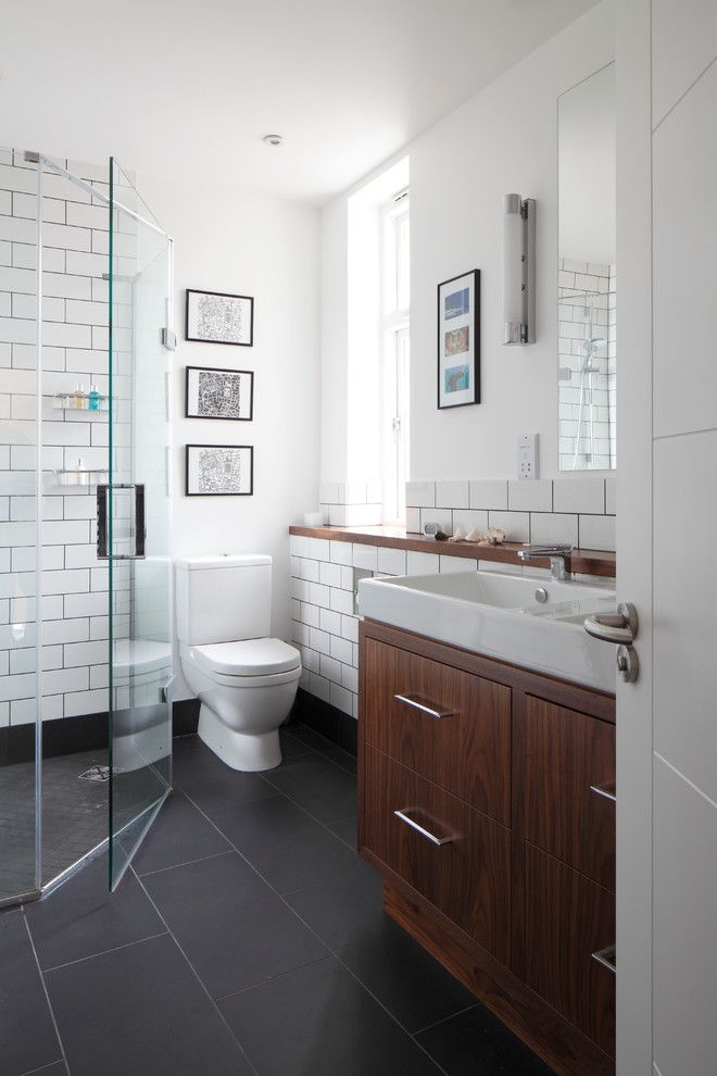 Dark Cherry Cabinets Bathroom Contemporary With Bar Pulls Dark Gray Floor Tile With Images Cherry Cabinets Bathroom Grey Floor Tiles Wood Tile Bathroom