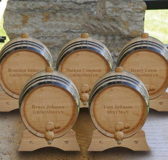 Set of 5 - 2 Liter - Personalized Oak Whiskey Barrel - Mini Whiskey Barrel - Groomsmen Gift - GC1028