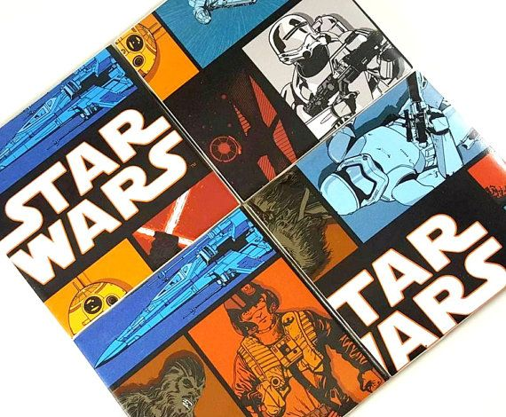 Feed your nerdy side with these amazing classic Star Wars coasters. Theyre the perfect gift for a nerdy man cave, a gaming room, or to display for the world to see.  All coasters measure 4.25 x 4.25. All coasters are made using quality tiles, covered with quality paper, and sealed with a water resistant sealer. They also are lined with felt to prevent the tile from scratching the surface of your furniture. The coasters ARE water resistant, but are not designed to be washed or put in the…
