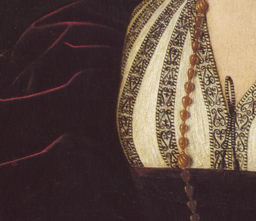 Bartolomeo Veneto: Ritratto di gentildonna. Olio su tavola del 1525-30. National Gallery of Canada, Ottawa. Molto bella la camicetta ricamata in nero, chiusa sul seno dal laccetto anch'esso in bianco e nero: il vestito invece è di una bellissima tonalità bordeaux di morbido velluto e la lunga collana in oro, semplice, ci si appoggia sopra.