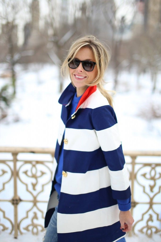 nautical winterFashion, Stripes Coats, Style, Navy Stripes, Southern Charms, Happily Grey, Kate Spade, Spade Coats, Stripes Jackets