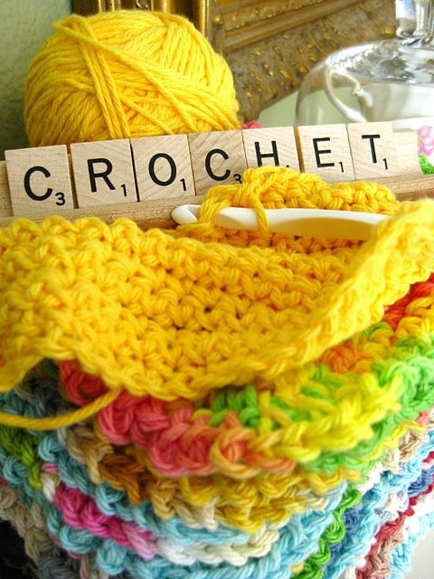 Crochet dish clothes - lovely colors