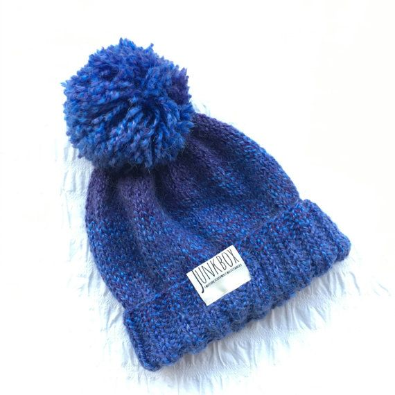 Handknit mixed blue UNISEX bobble hat winter by JunkboxCouture