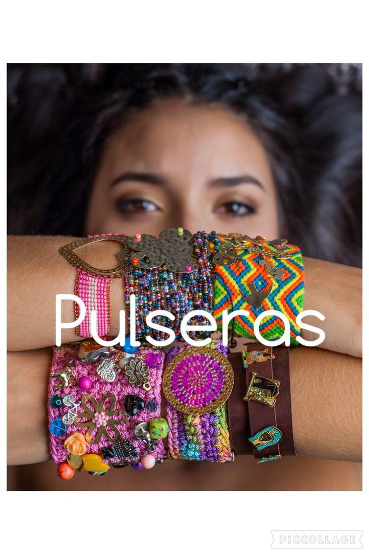 Variedad de pulseras y materiales