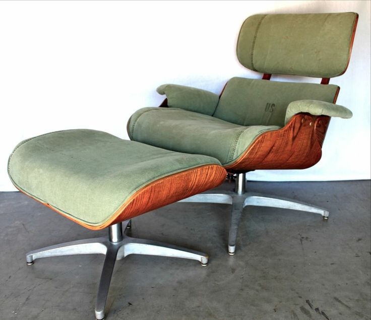 MID CENTURY Industrial VTG ARMY Surplus LOUNGE CHAIR Ottoman RECLINER EAMES 60s