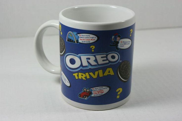 OREO TRIVIA Nabisco Brands Cookies Tea Coffee Cocoa Collectible Mug Cup Blue #Nabisco