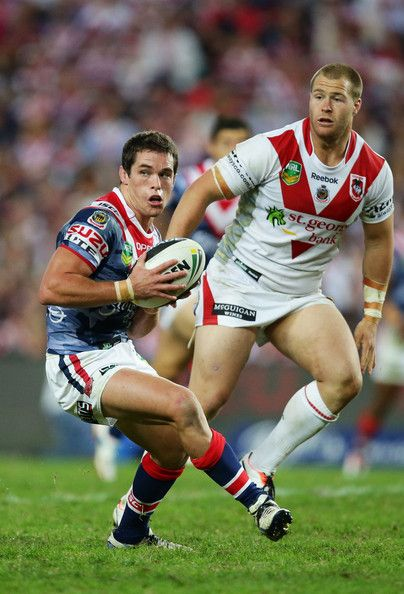 Roosters v Dragons: Daniel Mortimer of the Roosters runs with the ball during the round seven NRL match between the Sydney Roosters and the St George Illawarra Dragons at Allianz Stadium on April 25, 2013 in Sydney, Australia.